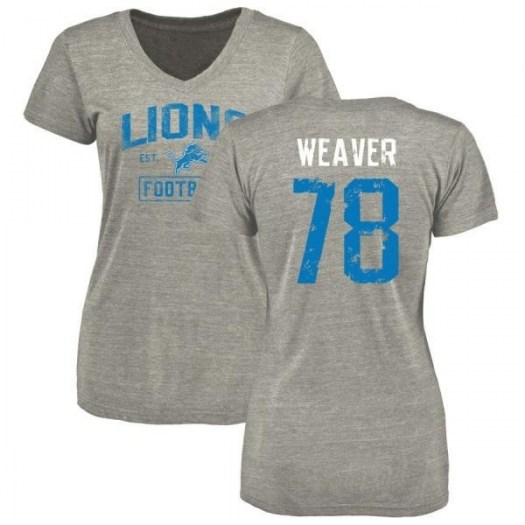 Jason Weaver Detroit Lions Women's Gray Heather Distressed Name & Number Tri-Blend V-Neck T-Shirt
