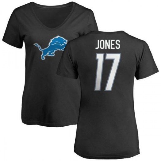 Andy Jones Detroit Lions Women's Black Any Name & Number Logo Slim Fit T-Shirt -