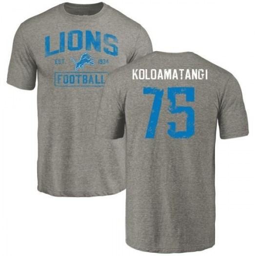 Leo Koloamatangi Detroit Lions Men's Gray Distressed Name & Number Tri-Blend T-Shirt